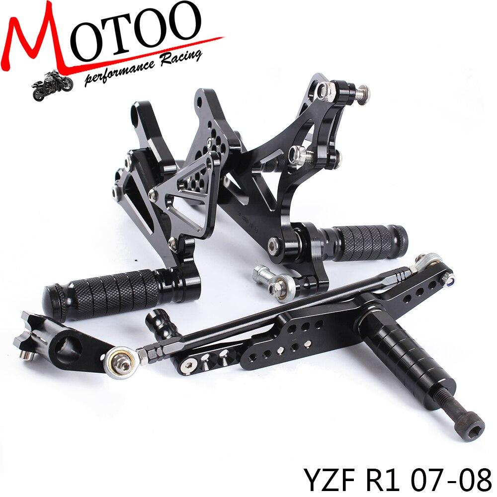 Motoo - Full CNC aluminum Motorcycle Rearset Rear Set For YAMAHA YZF-R1 2007-2008