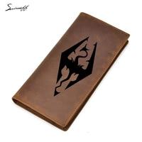 Solid Color Zipper Phone Pocket Genuine Leather Men Wallet Multi Card Holders Purses Engraved Game skyrim Long Wallet Male