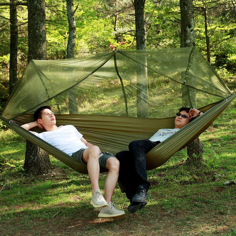 Yingtouman Sleeping Bed Parachute Nylon Outdoor Camping Hammocks Portable Hammock Swing Bed With Mosquito Net Sleeping Hammock Sleeping Bags
