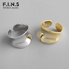F.I.N.S Fashion Unique Design 925 Sterling Silver Rings Wide Concave Surface INS Style Irregular Korean Ring Jewelry