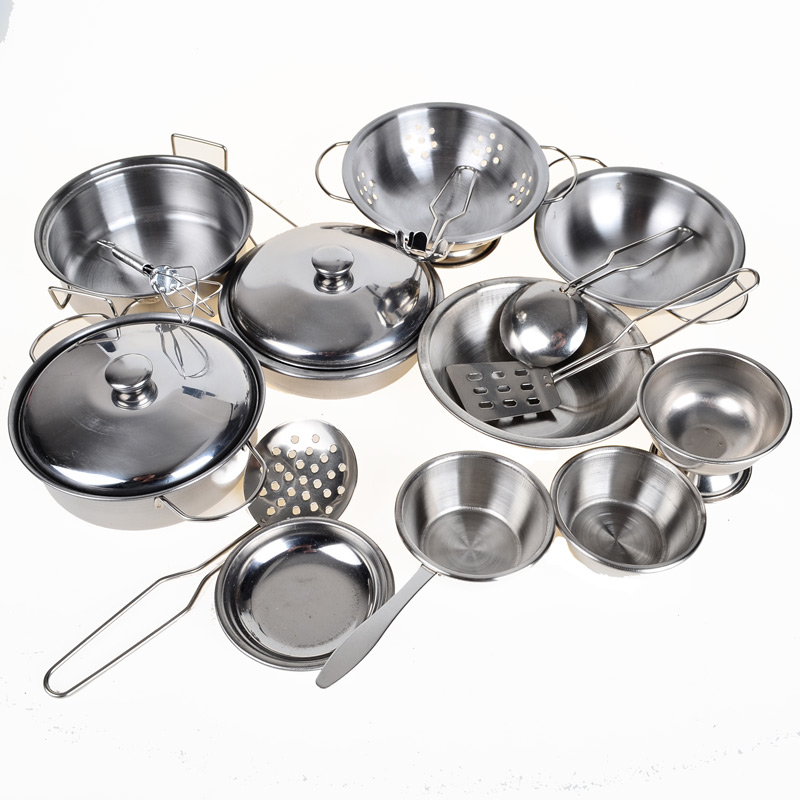 Stainless steel pots and pans pretend play kitchen set for for Kitchen set vessels