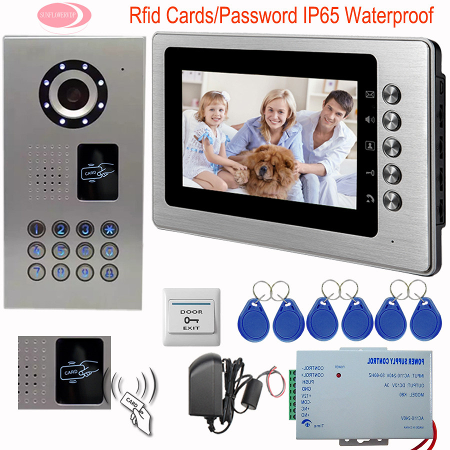 SUNFLOWERVDP Video Intercom System Intercom Door 7 Color Monitor Rfid Video Doorphone Systems CCD Camera IP65