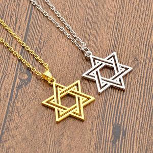 Звезда Давида, кулон, ожерелье, ювелирное изделие из нержавеющей стали/золотой цвет, цепочка, амулеты, ожерелье с гексаграммой для мужчин/женщин
