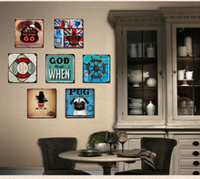 TOP COOL ART--7 Pieces HOME office BAR RETRO WALL Decor art -Vintage iron Antique Imitation metal drawing