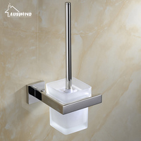 Modern Wall Mounted 304 Stainless Steel Polished Toilet Brush Holder with Glass Cup Bathroom Accessories AU7 2