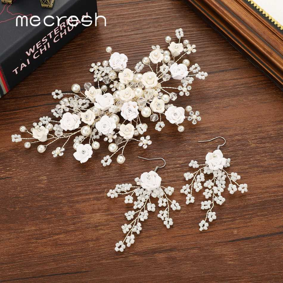 Mecresh White Flower Wedding Hair Comb for Bride Simulated Pearl Crystal Handmade Hair Comb Earrings Set Women Accessories FS188