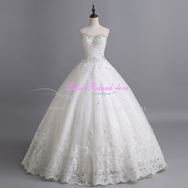 Vestido Novias милая кристалл бальное платье невесты свадебные платья 2015 на заказ длина пола свадебные платья Casamento горячей