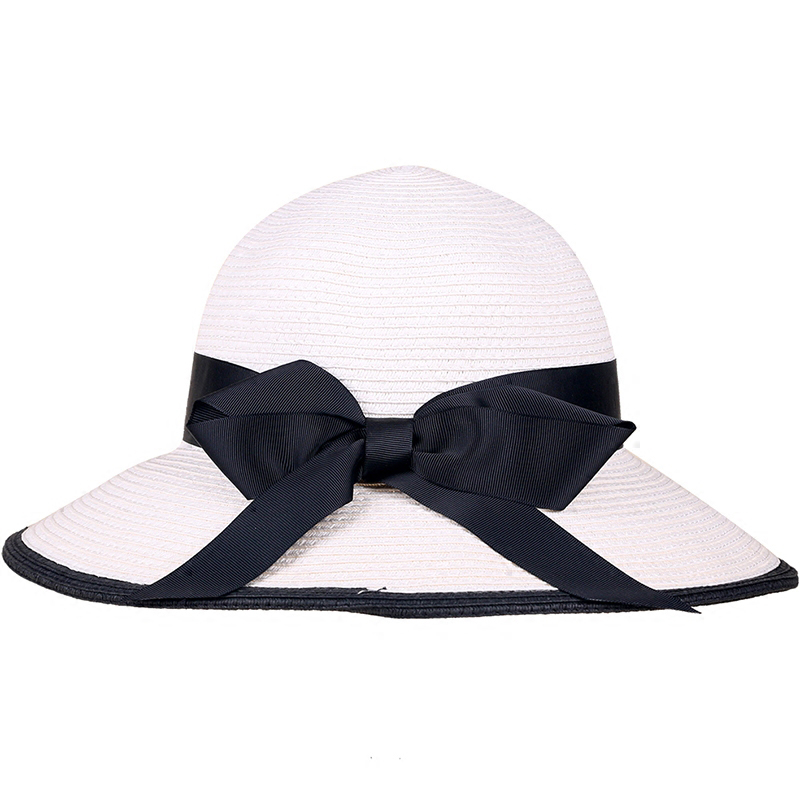 439961b2 Black White Bowknot Ladies Summer Hats Wide Brim Foldable Sun Hat ...