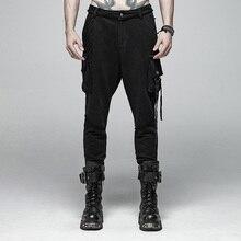 Панк рейв мужские панк Рок черные трикотажные брюки повседневные мужские уличные большой карман длинные панк личности Крест Брюки