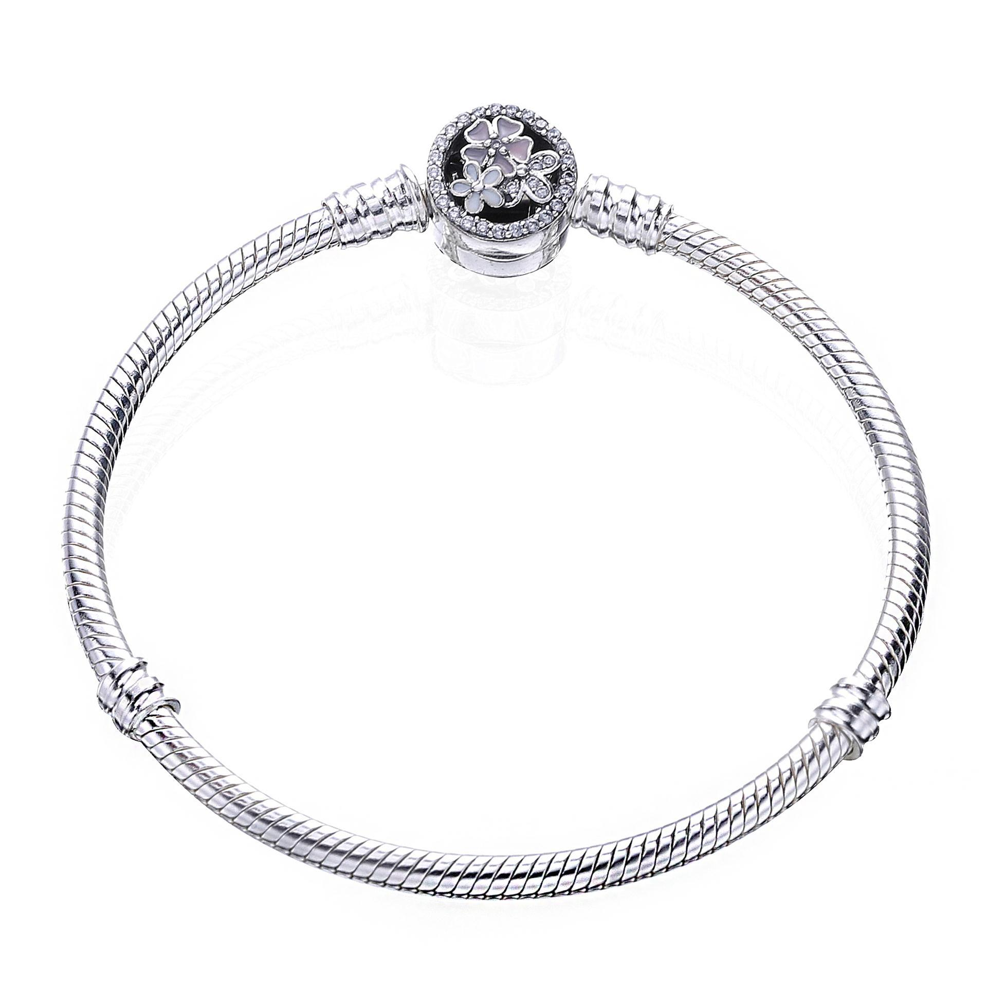 PDB7 ZTUNG S925 Silver Bracelet new style baking paint spring flower buckle snake bone chain bangle