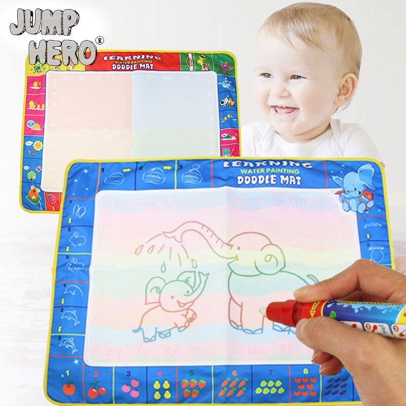 80*60 см ребенок вода рисовать ткань игрушки 1 мат 1 ручка Multi Цвет Дети Написание мат плате & магия воды ручка каракули ребенок учится подарок # E