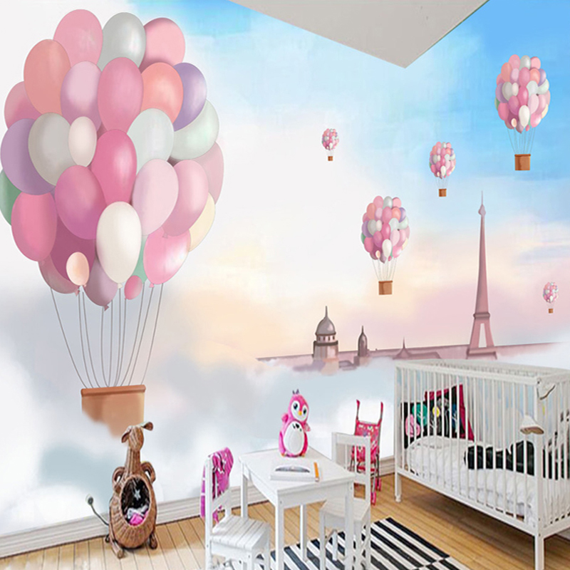 Custom 3D Poster Wallpaper Cartoon Children Room Decoration Pink Hot Balloon Wall Mural Wall Paper Girls Bedroom Wallpaper Print custom 3d photo wallpaper murals hd cartoon mushroom room children s bedroom background wall decoration painting wall paper