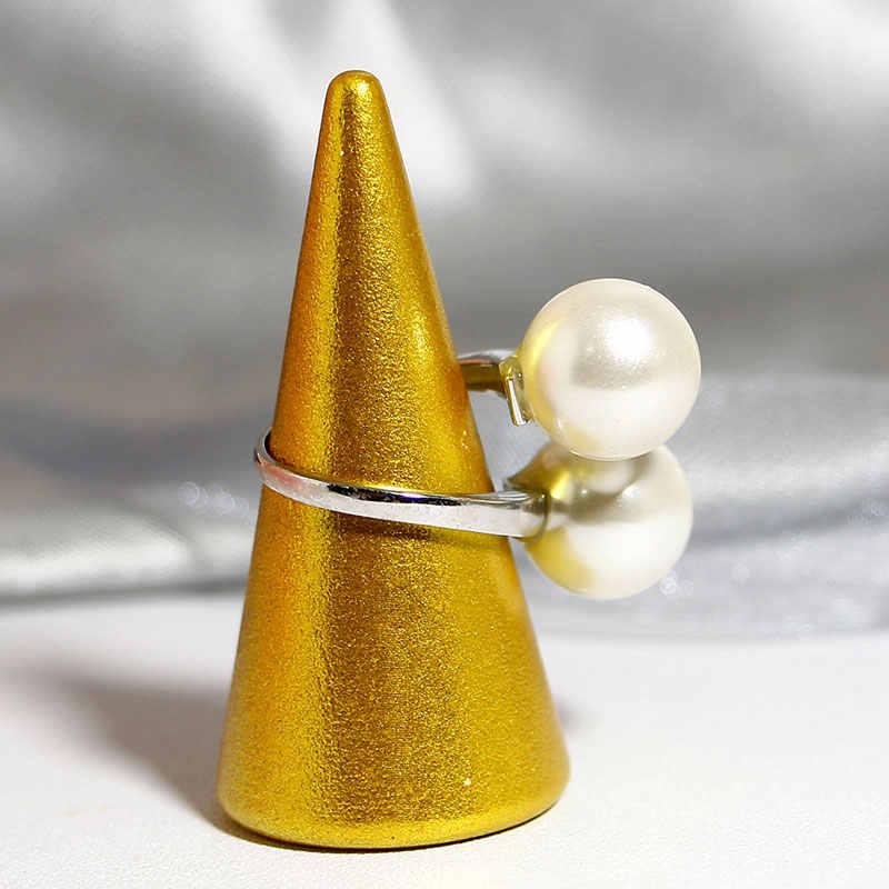 Elegante Qualità 925 Anelli Regolabile Vintage Esagerato Perla Del Doppio Anello di 925 Anello in Argento Sterling 925 Gioielli