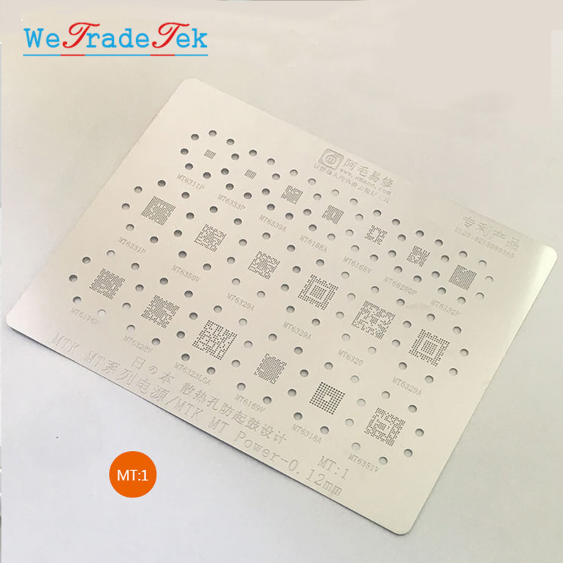 19 In 1 <font><b>BGA</b></font> <font><b>Reballing</b></font> <font><b>Stencil</b></font> Kit 0.12mm Thickness <font><b>MTK</b></font> Power IC Chip Tin Mesh Solder Template for MT6311P MT6339A MT6155A MT662 image