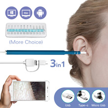 3 In 1 USB OTG Visual Ear Cleaning Endoscope Spoon Functional Diagnostic Tool Ear Cleaner Android 720P Camera Ear Pick