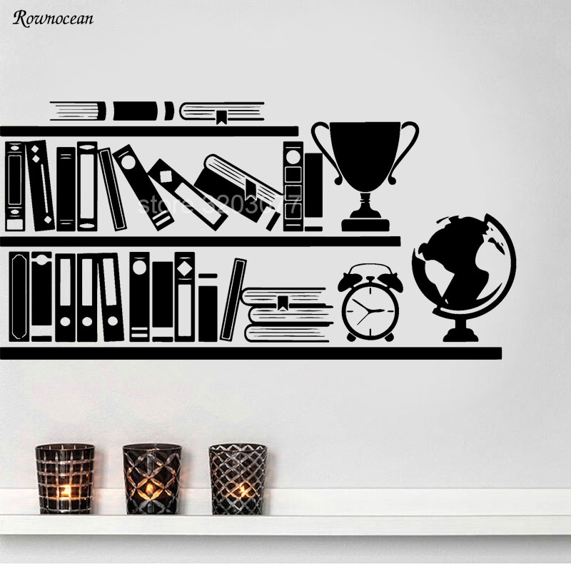 Modern Books Bookshelf Wall Decals Library School Classroom Vinyl Sticker Art Home Decor Reading Room Bedroom Murals SK03 In Stickers From