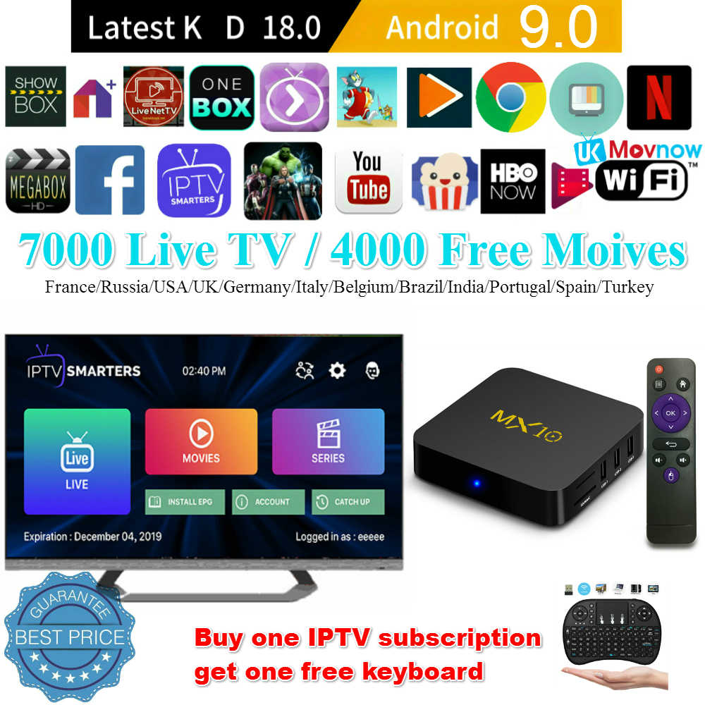 TTVBOX MX10 Android TV Box 4GB 32GB KD 18,0 Android 9,0 OS TV BOX Allwinner H6 Quad Core 4K HDR 2,4 GHz WIFI USB 3,0 Smart TV