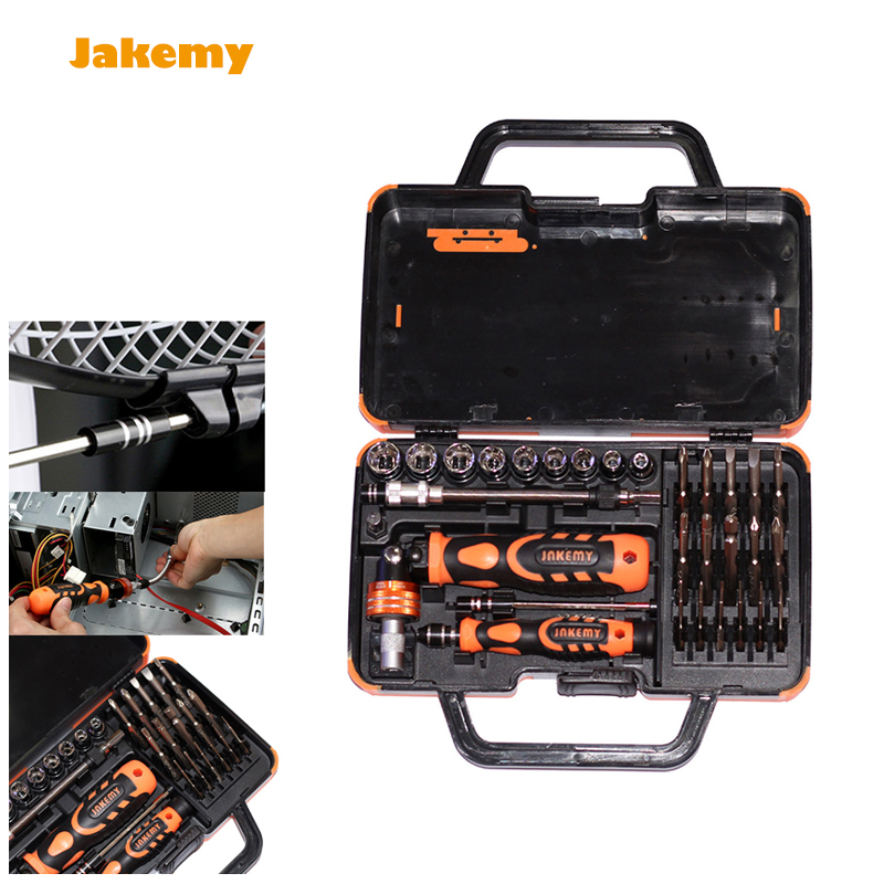 Jakemy JM-6121 31 in 1 caixa de ferramenta Screwdriver set Multi Bits Ratchet Repair Tools Kit Opening tool home maintenance PC xkai 14pcs 6 19mm ratchet spanner combination wrench a set of keys ratchet skate tool ratchet handle chrome vanadium
