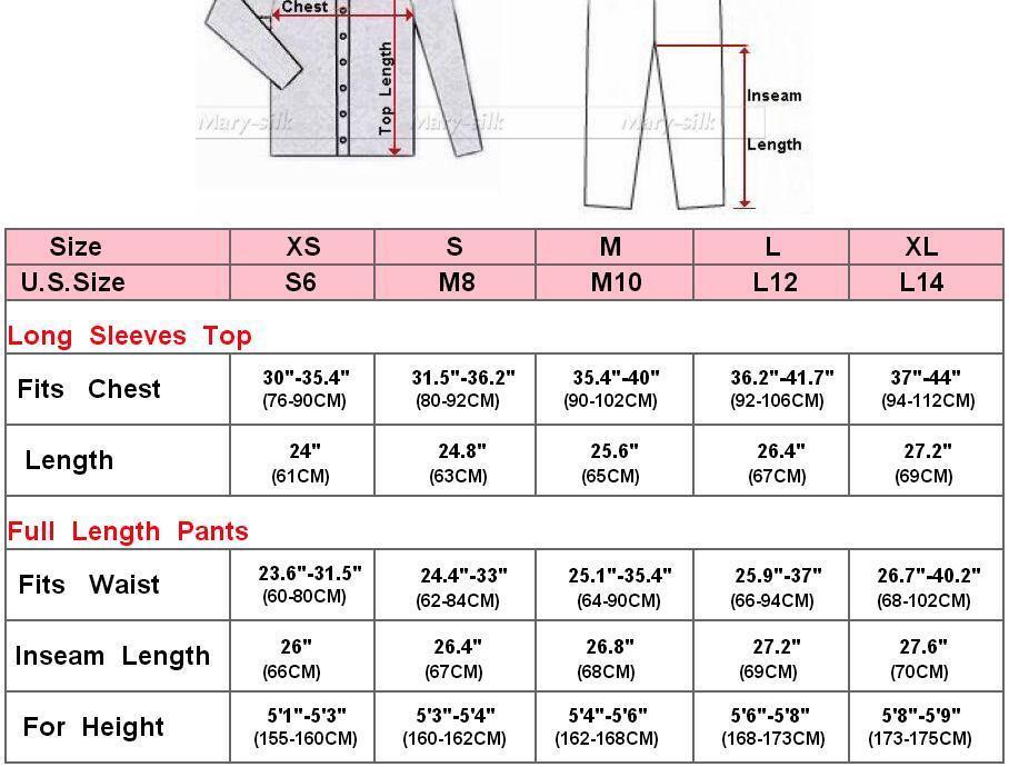 Image 2 - Womens 100% Silk  Pajamas Set  Pajama Pyjamas  Set  Sleepwear Loungewear  XS  S  M  L  XL-in Pajama Sets from Underwear & Sleepwears