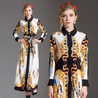 H2565 Top GradeWomen Spring Autumn Dress Single Breasted Exquisite Beautiful Clothes Ladies Lapel Long Sleeved Print