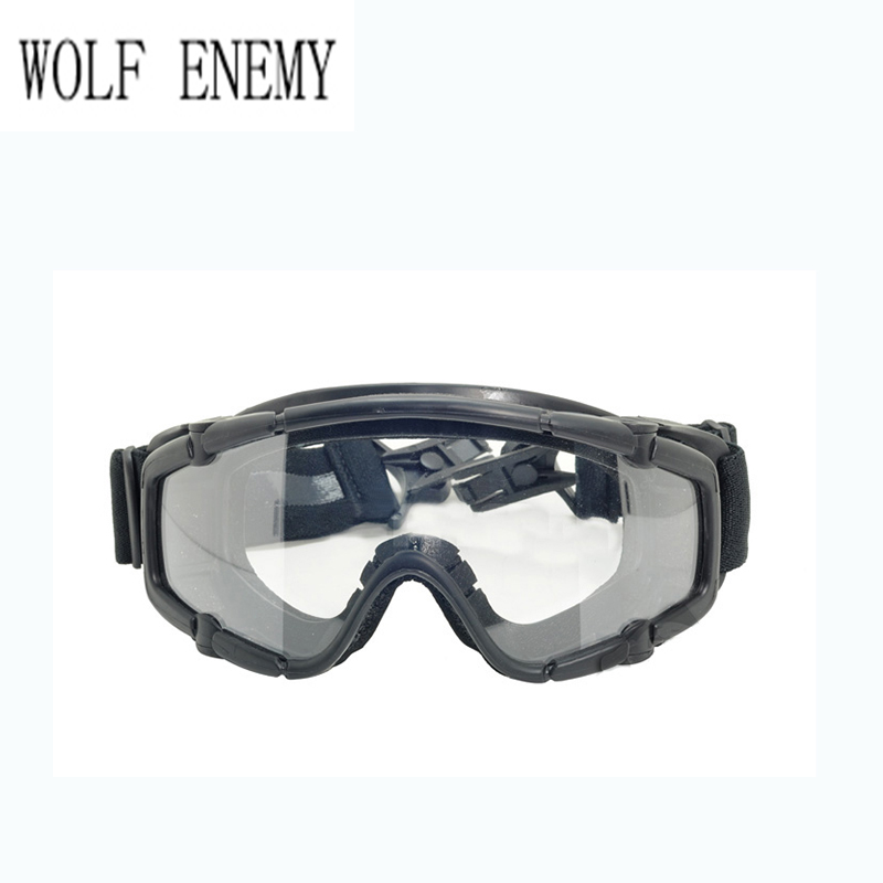 Black Skiing Sports & Paintball Airsoft Glasses anti fog Ballistic Goggles For Helmet