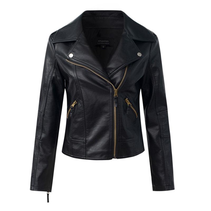 MLinina Faux   Leather   Jacket Women Soft PU   Leather   Biker Coat 4XL Short Design Slim Black Jackets Lady Turn-down Collar Outerwear