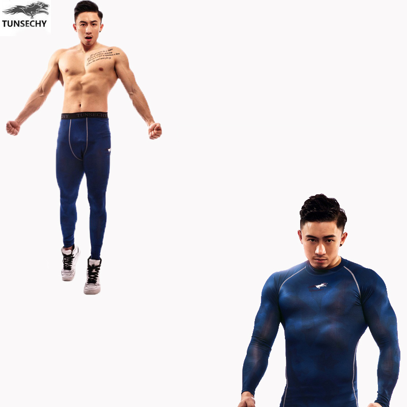 Men's Compression Run jogging Suits Clothes Sports Set Long t shirt And  Gym Fitness workout Tights clothing