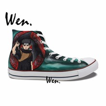 Wen Hand Painted Shoes Design Custom Naruto Shippuuden Uchiha Shisui Itachi Syaringan High Top Men Women