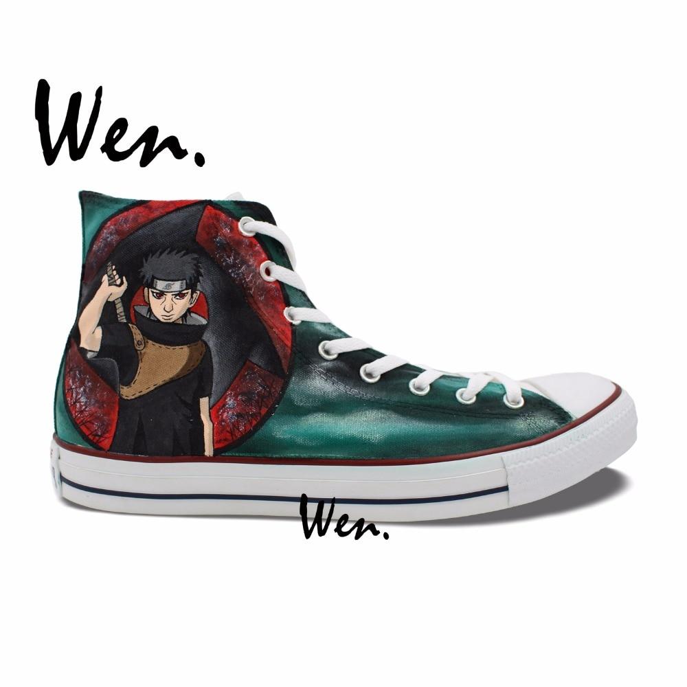 Wen Hand Painted font b Shoes b font Design Custom Naruto Shippuuden Uchiha Shisui Itachi Syaringan