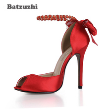 Batzuzhi Women Pumps 2018 Open Toe Leather Ladies High Heels Ankle Pearls Strap with Big Bow and Tassel Red Wedding Shoes Women handmade christmas green emerald suede sheet leather heel greenery wedding shoes with knot open toe ankle strap d orsay pumps