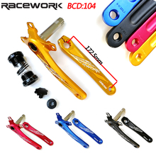 Bike Crank Set RACEWORK 104 BCD MTB Bicycle Crandset Aluminum Alloy With Bottom Bike Crank 172.5mm Bicycle Accessories fouriers ck gxp011 bike bicycle crank 175mm 180mm bicycle crank is made of the aviation aluminum alloy material