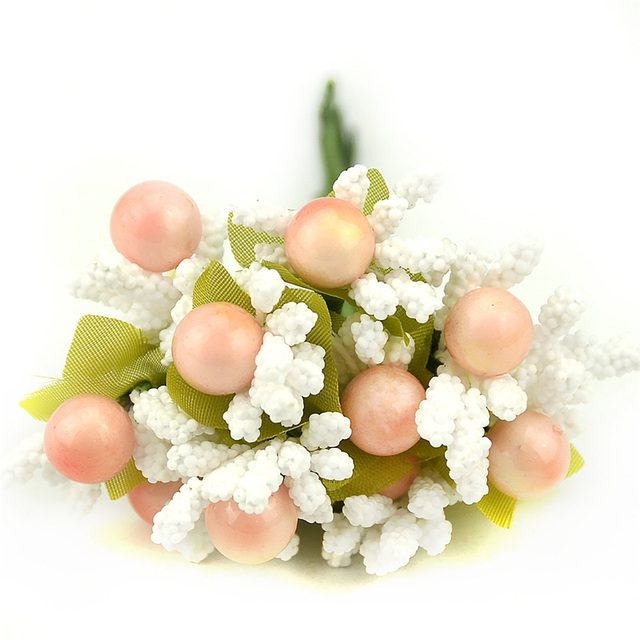 10pcs Pearl Berry Artificial StamenFlower For Wedding Home Decoration DIY wreath Scrapbooking Craft Cheap Fake Foam Flowers 3