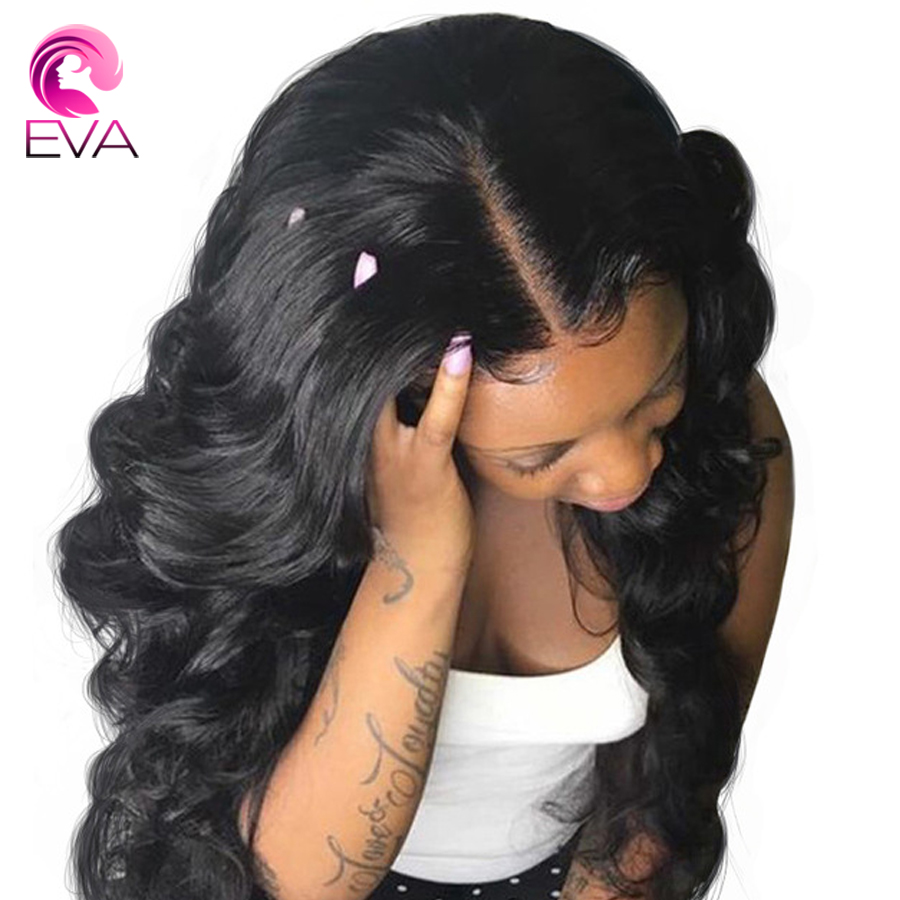 Eva Hair 360 Lace Frontal Wigs Pre Plucked With Baby Hair Bleached Knots Body Wave Brazilian Remy Human Hair Wig For Black Women