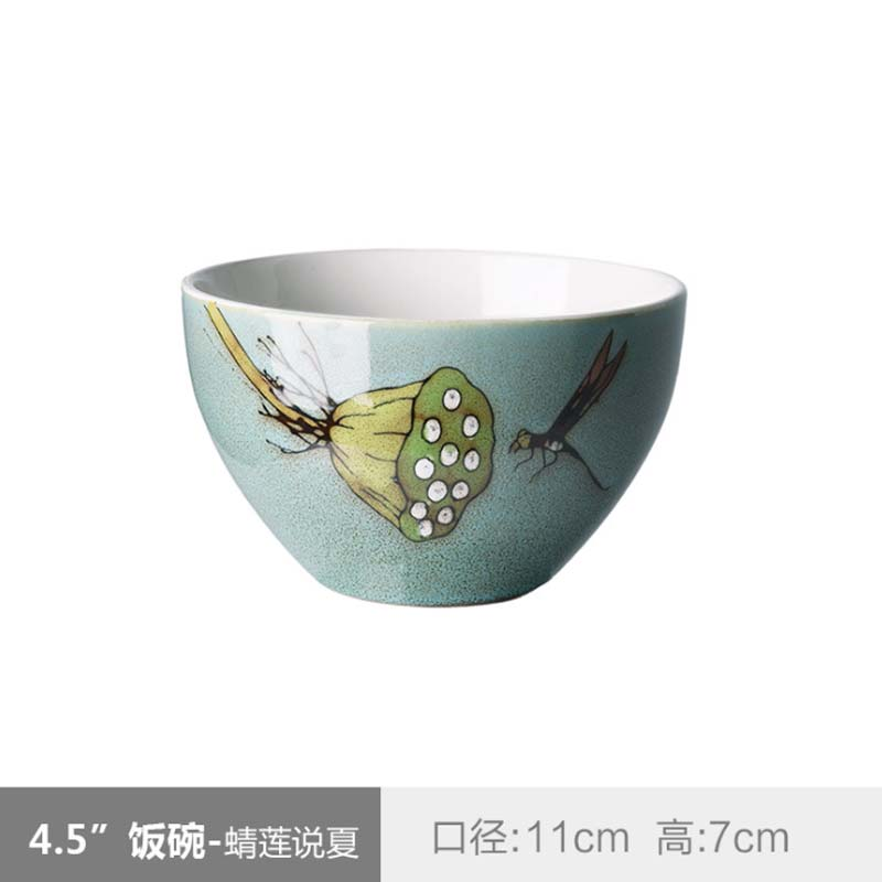 Japanese Classical Ceramic Tableware Kitchen Soup Noodle Rice Bowl 4 5 Inch Big Ramen Bowl Set Hand Painted Ceramic Bowl in Bowls from Home Garden
