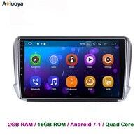 Aoluoya 2GB RAM Android 7 1 Car Dvd Player Radio GPS Navigation For Peugeot 208 2008