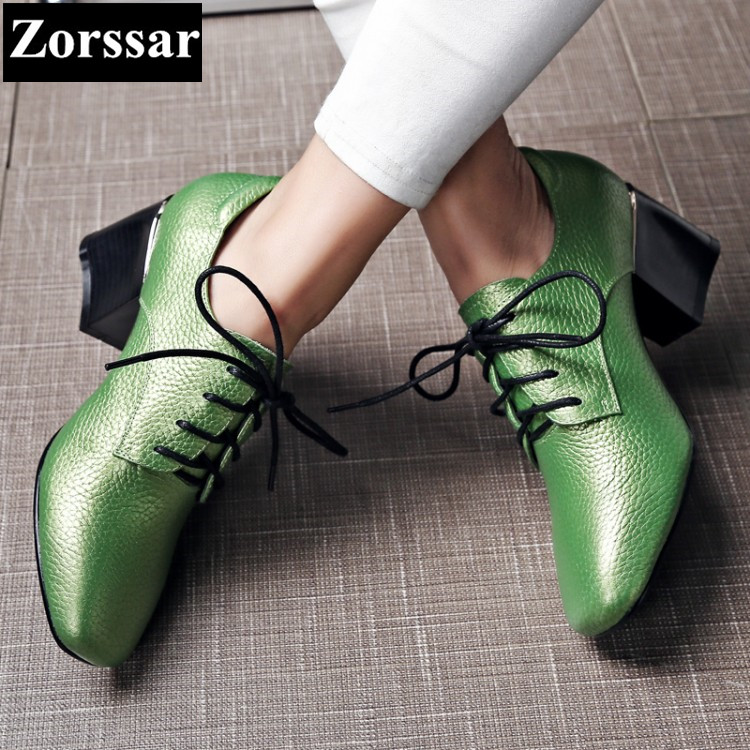 ФОТО Plus Size 33-43 Womens shoes lace up high heels pumps women single shoes 2017 Genuine leather Square heel shoes woman high heel