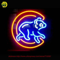 Equipes esportivas Filhote de Urso Artesanais Neon Lâmpadas Luz Da Noite do Sinal de Néon Personalizado Tubo De Vidro Da Lâmpada Lâmpada de Néon Resistor Lanterna 24x20