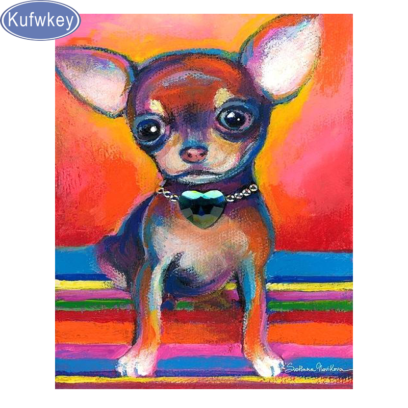 Kufwkey Full Square 5D DIY Diamond Painting chihuah