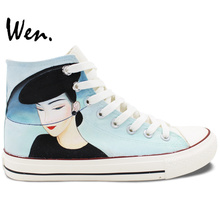 Wen Hand Painted Shoes Design Custom Classic Beautiful Woman High Top Canvas Sneakers for Christmas Gifts