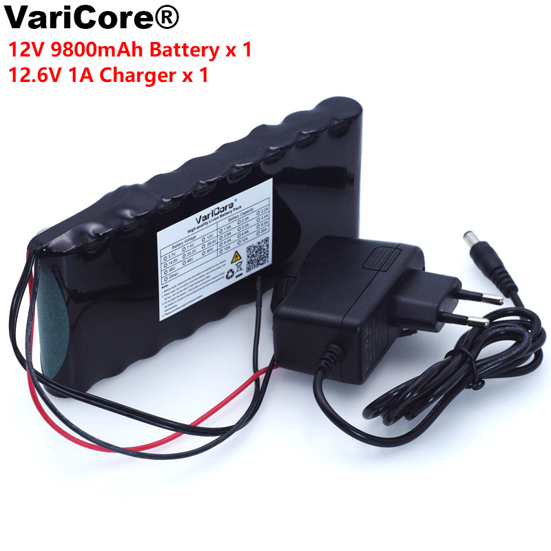 12 v 9.8Ah 9800mAh 18650 Rechargeable batteries 12V Li-Ion Battery pack Protection Board CCTV Monitor battery +12.6V 1A Charger ultrafire 18650 high capacity 3 7v 5000mah li ion rechargeable battery with charger 2 pack yellow without protection board