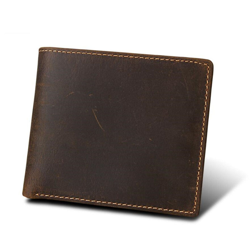 Genuine Leather Small Mini Ultra-thin Men Wallet RFID Protect Cowhide Crazy Horsehide Card Holder Short Design Purse