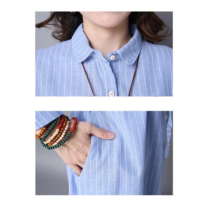 Camisa elegante Vestidos Mujer Verano Algodón Lino Camisa suelta - Ropa de mujer - foto 6