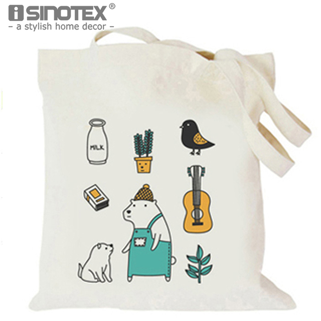 Ilration Printed Tote Storage Bags Convenience Shoulder Handbags Linen Bag For Food 1pcs Lot