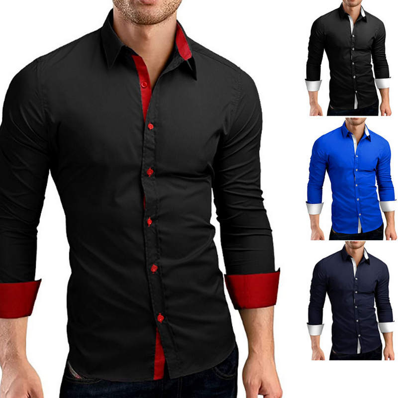Men Shirt Brand 2019 Male High Quality Long Sleeve Shirts Casual Hit Color Slim Fit Black Man Dress Shirts 4XL C936