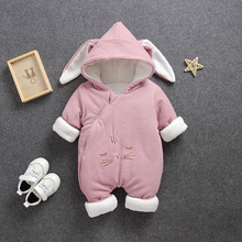 Bunny Rompers Baby Winter Newborn Clothes Thicken Outdoor Coverall Warm Romper Overalls for The Boy Girl