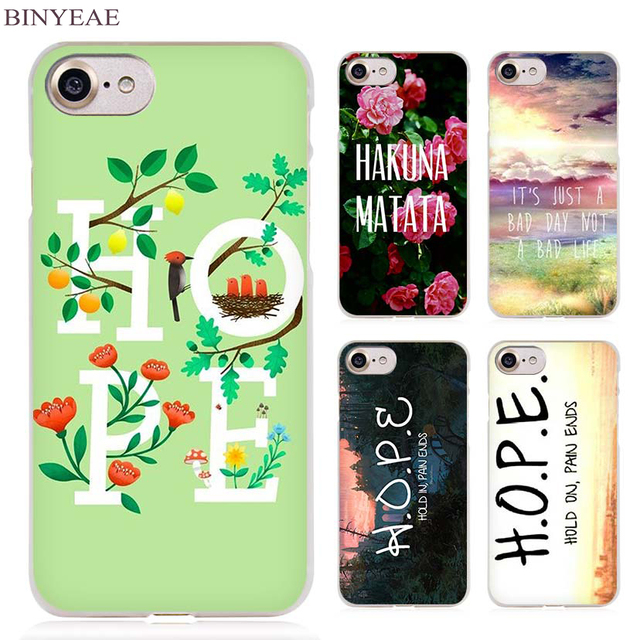 BINYEAE Hold On Pain Ends H.O.P.E Clear Cell Phone Case Cover for Apple iPhone 4 4s 5 5s SE 5c 6 6s 7 7s Plus