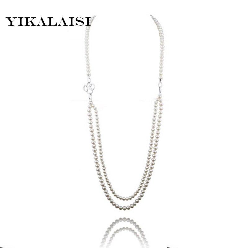YIKALAISI длинные ювелирные изделия из натурального жемчуга ожерелья по индивидуальному заказу длина настоящий жемчуг, бисер Пресноводный Кул