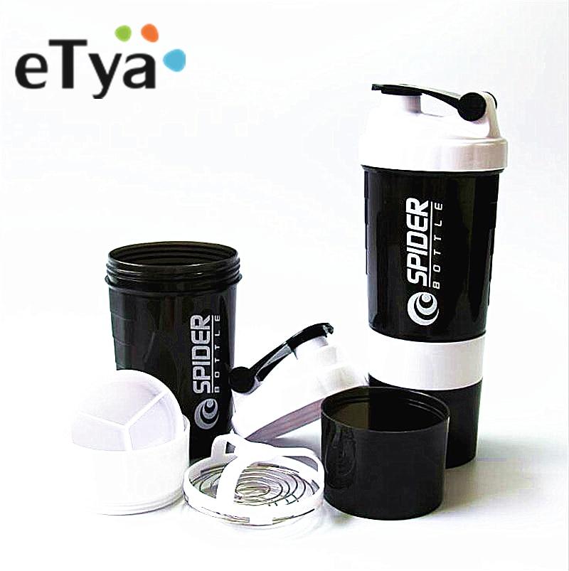 Protein Shaker Blender Mikser Fincan Spor Fitness salonu 3 Katmanlar İşlevli 600 ml BPA ücretsiz Shaker Şişe 1 adet