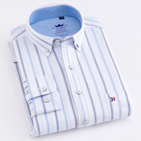 White Stripe 100 Cotton Oxford Men Dress Shirts New Design Plaid Solid Casual Button Down Collar