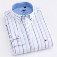 Witte Streep 100% Katoen Oxford Mannen Dress Shirts Nieuwe Ontwerp Plaid/Solid Casual Button-down Kraag Lange Mouw mannen Sociale Shirts